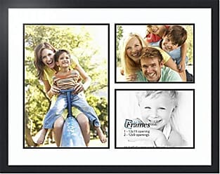 Art to Frames ArtToFrames Collage Photo Frame Double Mat with 1 - 13x19 and 2 - 9x12 Openings and Satin Black Frame