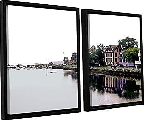 ArtWall Linda Parkers Fishing Village Nova 2 Piece Floater Framed Canvas Artwork, 32 by 48