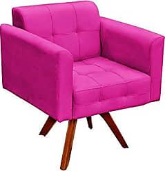 D'Rossi Poltrona Decorativa Giratória Gran Elisa Base Madeira Suede Pink - DRossi
