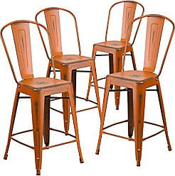 Flash Furniture 4 Pk. 24 High Distressed Orange Metal Indoor-Outdoor Counter Height Stool with Back