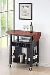 Round Hill Furniture Cherry Drop Leaf Wine Serving Cart on Wheels, Black