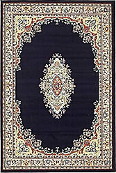 Unique Loom Reza Collection Classic Traditional Navy Blue Area Rug (4 x 6)