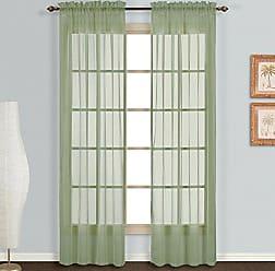 United Curtain Monte Carlo Sheer Pair of Window Panel, 118 x 54, Sage