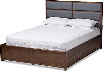 Baxton Studio Macey Upholstered Platform Bed, Size: King,Queen - MG4810-DARK GREY/WALNUT-QUEEN