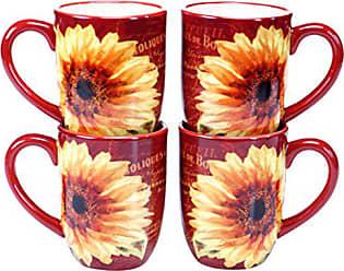 Certified International Paris Sunflower Mug (Set of 4), 18 oz, Multicolor