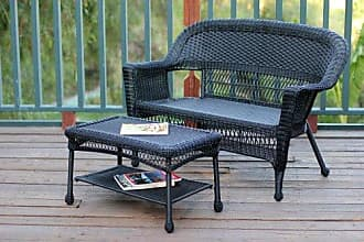 Jeco W00207-LCS Wicker Patio Love Seat and Coffee Table Set Without Cushion, Black