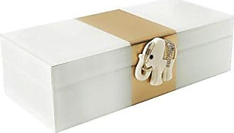 The Jay Companies White/Gold Elephant Jewelry Box