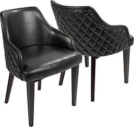 LumiSource Esteban Faux Leather Dining Arm Chair - Set of 2 - DC-ESTBN E+BK2