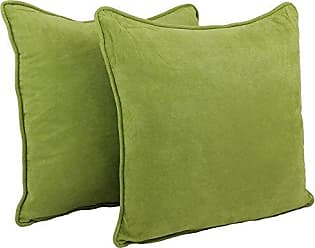 Blazing Needles Double-Corded Solid Microsuede Square Floor Pillows with Inserts (Set of 2), 25, Mojito Lime