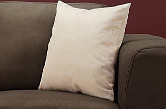 Monarch Specialties Feathered Velvet Decorative Throw Pillow, 18 x 18, Light Taupe