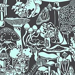Aimée Wilder Mushroom City Designer Wallpaper In Color Mint-chip mint On Charcoal