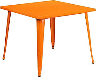 Flash Furniture 35.5 Square Orange Metal Indoor-Outdoor Table