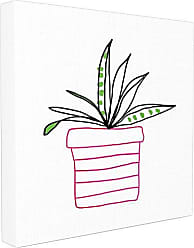 Stupell Industries Stupell Home Décor Pink Pot Succulent Line Drawing Stretched Canvas Wall Art, 24 x 1.5 x 24, Proudly Made in USA