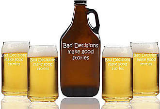 Chloe and Madison Bad DECISIONS Make Good Stories Beer Amber Growler & Can Glasses, Set of 5