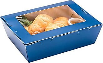 Restaurantware RWA0450MB Cafe Vision 71 oz Midnight Blue Paper Large Take Out Container Hinge Lock 8 3/4 x 6 x 2 1/2 200 Count Box, 71 ounces