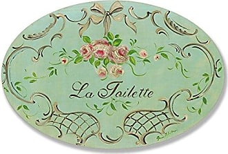 The Stupell Home Décor Collection The Stupell Home Decor Collection La Toilette Aqua with Roses and Tan Bow Oval Bathroom Wall Plaque
