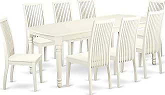 East West Furniture DOIP9-LWH-W Dining Set Large Linen White