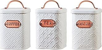 Amici Home Amici Home, A5IP007AS3R, Ventana Collection Metal Storage Canisters, Food Safe, Copper Handle and Relief Label, Push Top Lid, Assorted Set of 3, 60 Ounces