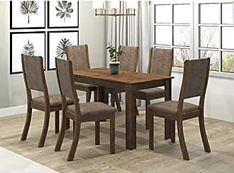 Viero Conjunto Sala de Jantar Mesa Violeta 6 Cadeiras Kiara Viero Grigio/Canela