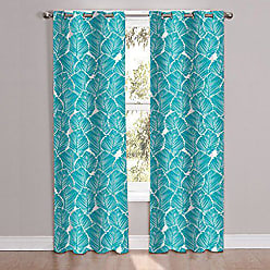 Sweet Home Collection 2 Piece Unique Stylish Teal Pattern Window Curtain Panel Set, 84 x 38 Pair, Tropical Leaf