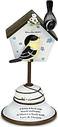 Pavilion Gift Company Peace, Love and Birds by Pavilion 7-Inch Decorative Bird House Finial, Bless This Home Sentiment