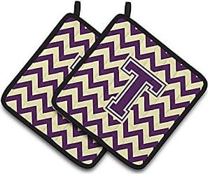 1 Pair Carolines Treasures CJ1022-NPTHD Letter N Monogram with Tiger Stripes Pot Holders 7.5 x 7.5 Purple//Gold