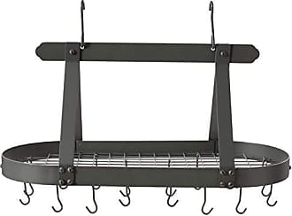 Old Dutch International Oval Steel Pot Rack w. Grid & 16 Hooks, Graphite, 36 x 19 x 15.5