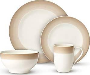 Villeroy & Boch Colorful Life Natural Cotton Dinner Set by Villeroy & Boch - Premium Porcelain - Made in Germany - Dishwasher and Microwave Safe - Serves 2