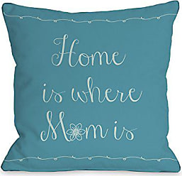 One Bella Casa Home Is Where Mom Is Flower Throw Pillow by OBC, 18x 18, Peacock Blue
