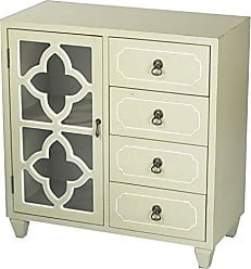 Heather Ann Creations 4 Drawer Wooden Accent Chest and Cabinet, Clover Pattern Grille with Glass Backing, 30.75H x 29.5W, Beige/White