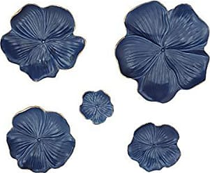 Deco 79 Eclectic Ceramic Flower Wall Trays 1 W x 11 H Matte Blue