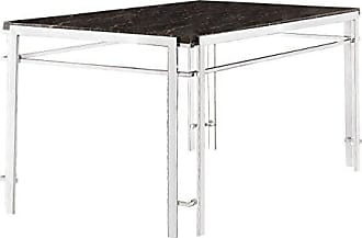 Homelegance 5178-60 Faux Marble Dining Table with Chrome Frame Base, Charcoal
