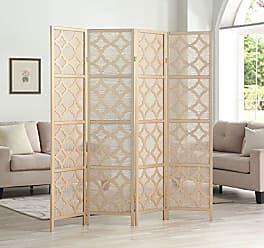Round Hill Furniture RD044GL Quarterfoil Infused Diamond Design 4-Panel Room Divider, Gold