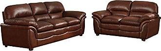 Wholesale Interiors Baxton Studio 9015 2PC Sofa Set Redding Cognac Leather Modern Sofa Set, Large, Brown
