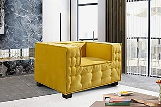 Iconic Home FCC9356-AN Bryant Accent Club Chair Velvet Upholstered Tufted Wide Armrest Tight Back Shelter Arm Design Espresso Finished Wooden Legs Modern Contemporary Yellow