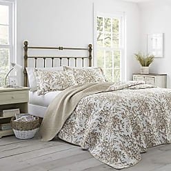 Revman International Laura Ashley Bedford Cotton Reversible Quilt, King, Mocha