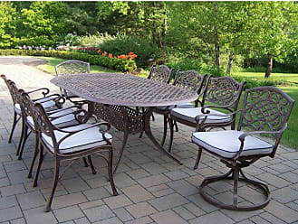 Oakland Living Outdoor Oakland Living Mississippi Cast Aluminum 82 x 42 in. Oval Patio Dining Set with Swivel Chairs - Seats 8 - 2105-2109-2104-17-AB