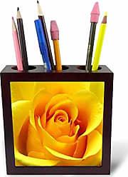 3D Rose ph_3648_1 Yellow Rose Tile Pen Holder, 5-Inch