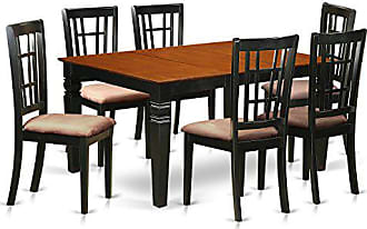 East West Furniture WENI7-BCH-C Weston 7 Pc Dining Set with a Dinning Table and 6 Kitchen Chairs in Black