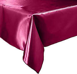 LA Linen Bridal Satin Rectangular Tablecloth 60 by 84-Inch, Burgundy, 60 x 84