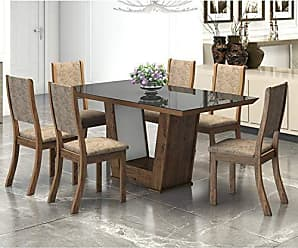 Viero Conjunto Sala de Jantar Mesa Genesis 6 Cadeiras Kiara New Viero Griggio/Canela/Preto