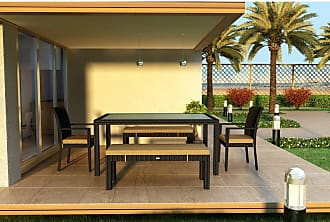 Harmonia Living Outdoor Harmonia Living Urbana 5 Piece Bench Patio Dining Set Canvas Charcoal - HL-URBN-CB-6BDS-CC