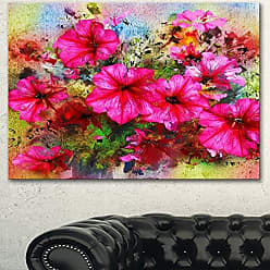 DESIGN ART Designart Purple Flowers Composition Watercolor Canvas Artwork, 32x16