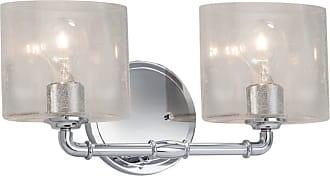 Justice Design Fusion Bronx 2 Light Bathroom Vanity Light - FSN-8462-30-SEED-MBLK