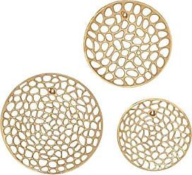 Deco 79 53454 Aluminum Wall Plates (Set of 3) Gold