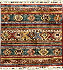 Nain Trading Handknotted Arijana Shaal Rug 35x34 Square Dark Grey/Beige (Wool, Afghanistan)