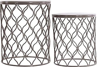 Urban Trends Collection Urban Trends Metal Round Accent Table with Intersecting Wave Design and Round Base (Set of 2), Light Gray