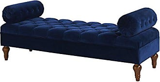 Jennifer Taylor Home 2435-859 Lewis Accent Entryway Bolster Bench, Navy Blue