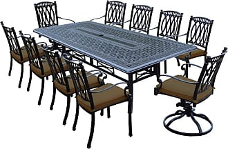 Oakland Living Outdoor Oakland Living Morocco Aluminum 11 Piece Patio Dining Set with Rectangle Tale Brown - 7208T-7215C8-7216S2-D54-21-AB