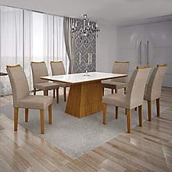 Leifer Conjunto Sala de Jantar Mesa Tampo MDF/Vidro Branco 6 Cadeiras Pampulha Leifer Imbuia Mel/Linho Bege